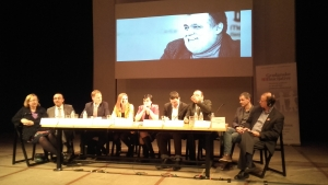 Civil society leaders in Belgrade at a meeting commemorating Miljenko Dereta on the anniversary of his death. Eric Chenoweth is at far right.