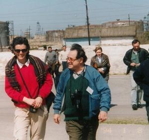 At a CfP meeting in Baku in 2003, Rony Koven (center) with Luminita Petrescu (Foundation for Pluralism in Romania) followed by Davit Berdzenishvili, Fridon Sakvarelidze, unknown, and Ivlian Haindrava from Georgia.